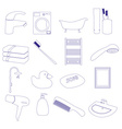 home bathroom theme outline icons set eps10 vector image vector image