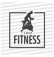 i love fitness square frame stripes background vec vector image