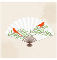 japanese fan birds and bamboo painting imag vector image vector image
