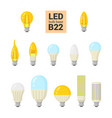 led light b22 bulbs colorful icon set vector image vector image