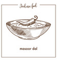 masoor dal with chili pepper in deep bowl from vector image