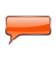 orange speech bubble rectangular 3d icon with vector image vector image
