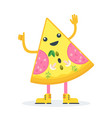 piece of pizza cheerful character vector image