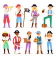 pirate piratic character buccaneer man or vector image