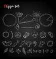 pizza setcollection on a chalkboard vector image vector image