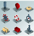 seaport color gradient isometric icons vector image vector image