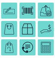 set of 9 e-commerce icons includes cardboard vector image vector image