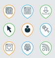 set of 9 web icons includes cursor tap website vector image vector image