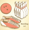 Sketch bowling set in vintage style vector image vector image