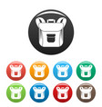 small backpack icons set color vector image