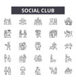social club line icons signs set linear vector image vector image