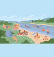 summer vacation on bank river resting people vector image