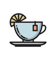 tea cup with slice of lemon and teabag label icon vector image vector image