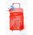 watercolor red travel suitcase on crumpled paper vector image vector image