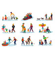 winter recreation set vector image vector image