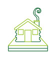 wooden cabin house chimney smoke camp exterior vector image