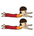 yoga asana set half-locust pose vector image vector image