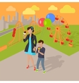Family Holiday in the Amusement Park Concept vector image