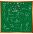2012 calendar blackboard vector image vector image