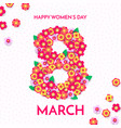 8 march papercut for international womens day vector image