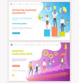achieving business excellence workers with prize vector image vector image