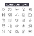 agreement line icons editable stroke signs vector image vector image