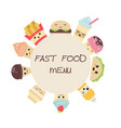 background with cute fast food meals background vector image vector image