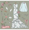 Bridal shower Dressaccessories setFloral Decor vector image