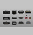 connector and ports usb type a and type c video vector image