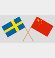 crossed sweden and republic of china flags vector image vector image