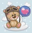 cute cartoon teddy bear boy with balloon vector image vector image