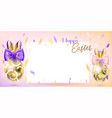 easter golden eggs with bunny bow vector image
