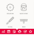 File tool circular saw and brush tool icons vector image