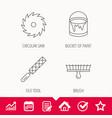 file tool circular saw and brush tool icons vector image vector image