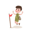 flat cartoon boy scout character jumping with vector image