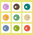 flat icons halloween set of bloody pumpkin and vector image vector image