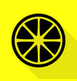 fruits lemon sign black icon with flat style vector image vector image