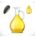glass jug with sunflower oil isolated on white vector image