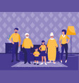 group of family members in the livingroom vector image