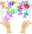 hands and butterfly vector image