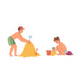 happy kids playing on sand isolated characters vector image vector image