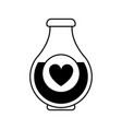 heart labeled flask or potion love valentines day vector image vector image
