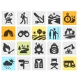 hiking black icons set trip walking tour or vector image vector image