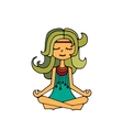 Hippie girl meditation vector image