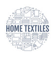Home textiles circle template with flat line icons