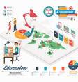Infographic education template design isometric vector image vector image