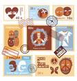 international friendship symbols stamps vector image