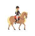 jockey girl riding horse equestrian professional vector image vector image