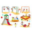 little kids on the playground vector image vector image