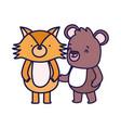 little teddy bear and fox cartoon character on vector image vector image